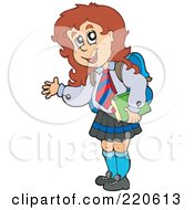 Royalty Free RF Clipart Illustration Of A Brunette School Girl Waving And Carrying A Book