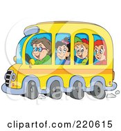 Royalty Free RF Clipart Illustration Of A Group Of Happy School Children And Driver On A Bus by visekart