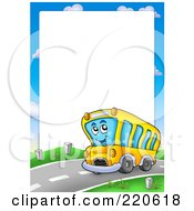 Royalty Free RF Clipart Illustration Of A Frame Of A Happy Driving School Bus Around White Space