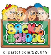 Royalty Free RF Clipart Illustration Of A Row Of Happy School Children Faces Over A Back To School Chalk Board