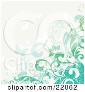 Clipart Illustration Picture Of A Web Site Background Of Blue And Green Flowering Vines And Butterflies With Grunge Texture by OnFocusMedia #COLLC22062-0049