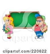 Royalty Free RF Clipart Illustration Of A Chubby School Boy And Girl By A Blank Chalk Board