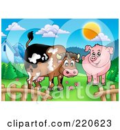 Royalty Free RF Clipart Illustration Of A Cute Cow And Pig In A Mountainous Pasture by visekart