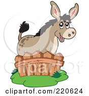 Royalty Free RF Clipart Illustration Of A Cute Donkey Standing Behind A Fence by visekart