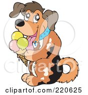 Royalty Free RF Clipart Illustration Of A Happy Dog Licking A Waffle Cone by visekart