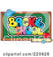 Royalty Free RF Clipart Illustration Of A Graduation Cap Book And Apple By A Back To School Chalk Board