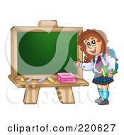 Royalty Free RF Clipart Illustration Of A Private School Girl Presenting A Blank Chalk Board