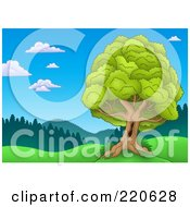 Royalty Free RF Clipart Illustration Of A Nature Landscape With A Mature Lush Tree With A Hole In The Trunk by visekart