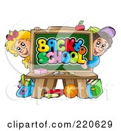 Royalty Free RF Clipart Illustration Of A School Boy And Girl Looking Around A Back To School Chalk Board