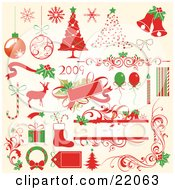 Clipart Illustration Picture Of A Collection Of Red And Green Christmas Icons Of Ornaments Snowflakes Decorated Trees Bells Bows Flourishes Holly Candycanes Reindeer Tags Balloons Candles Gifts Stockings And Wreaths