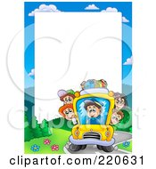 Royalty Free RF Clipart Illustration Of A Bus Driver And School Kids Frame Around White Space