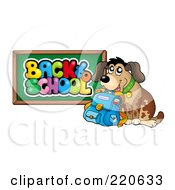 Royalty Free RF Clipart Illustration Of A Happy Dog With A Backpack By A Back To School Chalk Board
