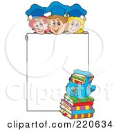 Royalty Free RF Clipart Illustration Of A Group Of Graduate Kids Above A Blank Sign by visekart