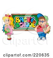 Royalty Free RF Clipart Illustration Of A Chubby School Boy And Girl By A Back To School Chalk Board