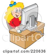 Royalty Free RF Clipart Illustration Of A Happy Blond Girl Using A Desktop Computer To Surf The Web by visekart