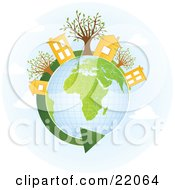 Clipart Illustration Picture Of Yellow Homes And Buildings With Trees On Top Of A Globe With Green Continents A Green Renewable Energy Arrow Circling The Planet by OnFocusMedia