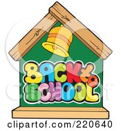 Royalty Free RF Clipart Illustration Of A Back To School House Chalkboard With A Bell