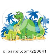 Royalty Free RF Clipart Illustration Of A Baby And Mother Dinosaur Near Palm Trees
