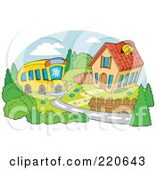 Royalty Free RF Clipart Illustration Of A Yellow School Bus Driving Up To A School House With A Bell