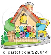 Royalty Free RF Clipart Illustration Of A Yellow School Bus Beside A Back To School House With A Bell