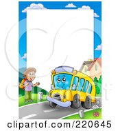 Royalty Free RF Clipart Illustration Of A Frame Of A Happy School Bus Stopping To Pick Up A Boy Around White Space