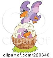 Royalty Free RF Clipart Illustration Of A Cute Purple Pterodactyl Flying Over Her Eggs And Baby In A Nest