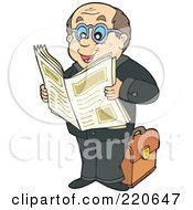 Royalty Free RF Clipart Illustration Of A Caucasian Businessman Standing And Reading A Newspaper