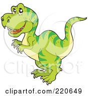 Royalty Free RF Clipart Illustration Of A Cute Green Tyrannosaurus Rex Dino With Green Stripes
