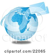 Two Fast Envelopes Speeding Around The Blue Globe Symbolizing Internet Communications Or Shipping