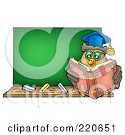 Royalty Free RF Clipart Illustration Of A Professor Owl Reading By A Blank Chalk Board
