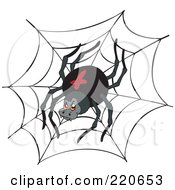 Royalty Free RF Clipart Illustration Of A Black Widow Spider On A Black Web by visekart