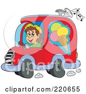 Royalty Free RF Clipart Illustration Of A Happy Ice Cream Truck Driver Playing Music by visekart