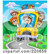 Royalty Free RF Clipart Illustration Of A Crowded Bus Of Happy Kids Driving Down A Curving Road by visekart