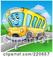 Royalty Free RF Clipart Illustration Of A Happy School Bus Driving On A Roadway