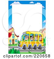 Royalty Free RF Clipart Illustration Of A Group Of Happy School Children And Driver On A Bus