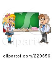Royalty Free RF Clipart Illustration Of A Private School Boy And Girl By A Blank Chalkboard