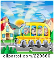 Royalty Free RF Clipart Illustration Of A Bus Of Of Happy School Children Arriving At School