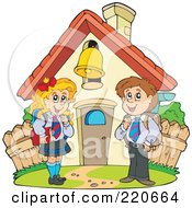 Royalty Free RF Clipart Illustration Of A School Boy And Girl Standing In Front Of A School House With A Ringing Bell by visekart