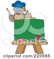 Royalty Free RF Clipart Illustration Of An Owl Teacher Sitting On Top Of A Blank Chalk Board