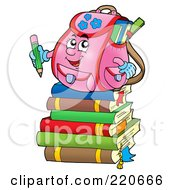 Pink Backpack Character On A Stack Of Books