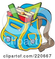Royalty Free RF Clipart Illustration Of A Blue School Bag Full Of Books And Rulers