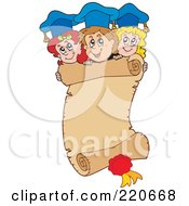 Royalty Free RF Clipart Illustration Of A Group Of Graduates Above A Parchment Scroll by visekart