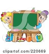 School Boy And School Girl Presenting A Blank Chalk Board by visekart