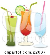 Clipart Illustration Picture Of Three Different Cocktail Beverages With Alcohol Cherries Straws And Lime Over A White Background