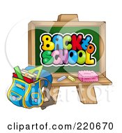 Royalty Free RF Clipart Illustration Of A Backpack By A Back To School Chalk Board