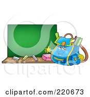 Royalty Free RF Clipart Illustration Of A Friendly Backpack Presenting A Blank Chalk Board