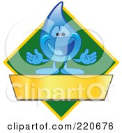 Royalty Free RF Clipart Illustration Of A Blue Water Droplet Character Logo With A Green Diamond And A Blank Gold Banner