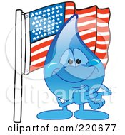 Blue Water Droplet Character With An American Flag