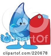Royalty Free RF Clipart Illustration Of A Blue Water Droplet Character Holding A Red Price Tag