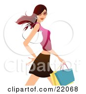 Clipart Illustration Picture Of A Confident Young Brunette Caucasian Woman In Shades A Tank Top And Skirt Carrying Shopping Bags And A Purse On Her Arm